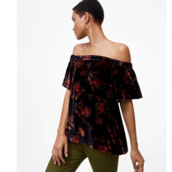 b526a14f31e43 NWT Ann Taylor LOFT Floral Velvet Off Shoulder Top